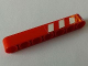 Part No: 32524pb020L  Name: Technic, Liftarm 1 x 7 Thick with Red and 3 White Danger Stripes on Upper Half Pattern Model Left Side (Sticker) - Set 8289