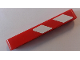 Part No: 32524pb028R  Name: Technic, Liftarm 1 x 7 Thick with Red and 2 White Danger Stripes Pattern Model Right Side (Sticker) - Set 42043