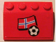 Part No: 3297pb004  Name: Slope 33 3 x 4 with Flag of Norway and Soccer Ball on Red Background Pattern (Sticker) - Set 3407