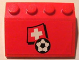 Part No: 3297pb005  Name: Slope 33 3 x 4 with Flag of Switzerland and Soccer Ball on Red Background Pattern (Sticker) - Set 3407