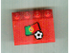 Part No: 3297pb032  Name: Slope 33 3 x 4 with Flag of Portugal and Soccer Ball on Transparent Background Pattern (Sticker) - Set 3407