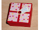 Part No: 33031pb02  Name: Container, Box 3.5 x 3.5 x 1.3 with Hinged Lid with Hearts Present / Gift Wrap Pattern (Sticker) - Set 3220