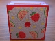 Part No: 33031pb11  Name: Container, Box 3.5 x 3.5 x 1.3 with Hinged Lid with Strawberries and Watermelon Pattern (Sticker) - Set 3270