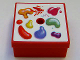 Part No: 33031pb13  Name: Container, Box 3.5 x 3.5 x 1.3 with Hinged Lid with Paint Box Pattern (Sticker) - Set 3142