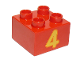 Part No: 3437pb066  Name: Duplo, Brick 2 x 2 with Number 4 Yellow Pattern
