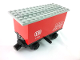 Part No: 3443c01pb01  Name: Train Battery Box Car with Three Contact Holes, Black Switch Lever, Black Magnets, Black Wheels, and Light Gray Roof with 'DB 7722' Pattern on Both Sides (Stickers) - Set 7722