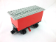 Part No: 3443c02  Name: Train Battery Box Car with Three Contact Holes, Red Switch Lever, Black Magnets, Black Wheels, and Light Gray Roof