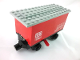Part No: 3443c02pb01  Name: Train Battery Box Car with Three Contact Holes, Red Switch Lever, Black Magnets, Black Wheels, and Light Gray Roof with 'DB 7722' Pattern on Both Sides (Stickers) - Set 7722