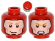 Part No: 3626cpb1098  Name: Minifigure, Head Dual Sided Balaclava with Face Hole, Orange Eyebrows, Cheek Lines, Smile / Angry Pattern - Hollow Stud