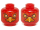 Part No: 3626cpb1146  Name: Minifigure, Head Dual Sided Alien Chima Phoenix Orange Eye Circles and Feathers, Yellow Eyes, Beak, Surprised / Stern Pattern (Flinx) - Hollow Stud