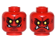 Part No: 3626cpb1580  Name: Minifigure, Head Dual Sided Alien Black Eyebrows, Yellow Eyes, Dark Red Spots, 4 Fangs, Closed Mouth / Angry Pattern - Hollow Stud