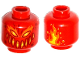 Part No: 3626cpb1645  Name: Minifigure, Head Alien Dark Red, Yellow and Orange Eyes, Wide Mouth, Dark Red Spots and Flames on Back Pattern - Hollow Stud