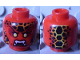 Part No: 3626cpb1672  Name: Minifigure, Head Alien with Black Thin Eyebrows, Yellow Eyes, Black and Orange Scales, Fangs Pattern - Hollow Stud