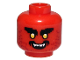 Part No: 3626cpb2573  Name: Minifigure, Head Black Bushy Eyebrows, Yellow Eyes, Dark Red Stubble, Black Open Mouth with Teeth Pattern - Hollow Stud
