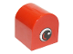 Part No: 3664pb13  Name: Duplo, Brick 2 x 2 x 2 Curved Top with Eye with White and Red on Both Sides Pattern