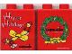 Part No: 4066pb005  Name: Duplo, Brick 1 x 2 x 2 with Happy Holidays 2001 Pattern