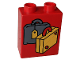 Part No: 4066pb079  Name: Duplo, Brick 1 x 2 x 2 with Suitcases Yellow and Dark Gray Pattern