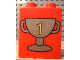 Part No: 4066pb107  Name: Duplo, Brick 1 x 2 x 2 with Trophy Cup Number 1, Dark Gold Pattern