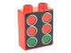 Part No: 4066pb412  Name: Duplo, Brick 1 x 2 x 2 with 4 Red and 2 Green Starting Lights Pattern