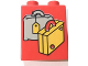 Part No: 4066pb481  Name: Duplo, Brick 1 x 2 x 2 with Suitcases Yellow and Light Gray Pattern