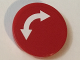 Part No: 4150pb183  Name: Tile, Round 2 x 2 with White Curved Arrow Double on Red Background Pattern (Sticker) - Set 60022