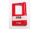 Part No: 4182pb074  Name: Door 1 x 4 x 5 Train Right with White Stripe and 'DSB 7745' Pattern (Sticker) - Set 7745