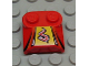 Part No: 41855pb08  Name: Brick, Modified 2 x 2 x 2/3 Two Studs, Lip End with Red/White Flame on Yellow, Black Stripes Pattern