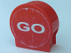 Part No: 41970pb14  Name: Duplo, Brick 1 x 3 x 2 Round Top Road Sign with 'BRAKE' and 'GO' Pattern (Stickers) - Set 4694