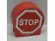 Part No: 41970pb19  Name: Duplo, Brick 1 x 3 x 2 Round Top Road Sign with 'STOP' in Octagon Pattern (Sticker) - Set 9211
