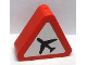 Part No: 42025pb05  Name: Duplo, Brick 1 x 3 x 2 Triangle Road Sign with Black Airplane on White Pattern (Sticker) - Set 7840
