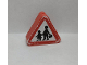 Part No: 42025pb11  Name: Duplo, Brick 1 x 3 x 2 Triangle Road Sign with Pedestrian Crossing Warning Pattern (Sticker) - Set 9211