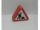 Part No: 42025pb12  Name: Duplo, Brick 1 x 3 x 2 Triangle Road Sign with Construction Worker Pattern (Sticker) - Set 9211