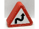 Part No: 42025pb14  Name: Duplo, Brick 1 x 3 x 2 Triangle Road Sign with Curved Road Pattern (Sticker) - Set 9211