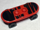Part No: 42511c01pb10  Name: Minifigure, Utensil Skateboard with Trolley Wheel Holders with Black Zebra Stripes Pattern (Sticker) and Black Trolley Wheels (42511pb10 / 2496)