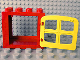 Part No: 4253c02  Name: Duplo Door Frame Flat Front Surface with Yellow 4 Pane Window