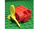 Part No: 4616ac01  Name: Fabuland Airplane Motor / Engine Block, Small Pin Hole with Pin and Yellow Propeller