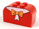 Part No: 4744px10  Name: Slope, Curved 4 x 2 x 2 Double with Four Studs with Orange Bow Pattern