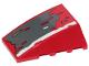 Part No: 47753pb087  Name: Wedge 4 x 4 No Top Studs with Dark Bluish Gray, Dark Tan, Red and White Patches Pattern (Sticker) - Set 75250