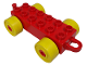 Part No: 4883c01  Name: Duplo Car Base 2 x 6 with Yellow Wheels and Old Style Closed Hitch End