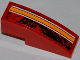 Part No: 50950pb058L  Name: Slope, Curved 3 x 1 with Orange and White Lines Pattern Model Left Side (Sticker) - Set 9092