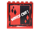 Part No: 59349pb120  Name: Panel 1 x 6 x 5 with Red and Black Sides and Diamonds and White 'WATCH OUT!' Pattern (Sticker) - Set 6857