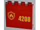 Part No: 60581pb013R  Name: Panel 1 x 4 x 3 with Side Supports - Hollow Studs with Yellow and Red Fire Logo Badge and '4208' on Right Pattern (Sticker) - Set 4208