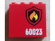Part No: 60581pb028R  Name: Panel 1 x 4 x 3 with Side Supports - Hollow Studs with Black and Yellow Fire Logo Badge and '60023' Pattern Model Right (Sticker) - Set 60023