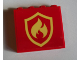 Part No: 60581pb143  Name: Panel 1 x 4 x 3 with Side Supports - Hollow Studs with Fire Logo Badge Pattern (Sticker) - Set 60214