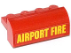 Part No: 6081pb017  Name: Brick, Modified 2 x 4 x 1 1/3 with Curved Top with Yellow 'AIRPORT FIRE' Pattern (Sticker) - Set 60061