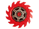 Part No: 61403pb04  Name: Technic Circular Saw Blade 9 x 9 with Pin Hole and Teeth in Same Direction with Wheel Spokes and Hub Pattern on Both Sides (Stickers) - Set 70642