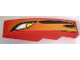Part No: 61678pb011R  Name: Slope, Curved 4 x 1 No Studs with Headlight and Flames Pattern, Model Right (Sticker) - Set 8898