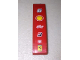 Part No: 61678pb063  Name: Slope, Curved 4 x 1 No Studs with Number 6 and Shell, Alice, Bridgestone, Fiat and Ferrari Logos Pattern (Sticker) - Set 8155