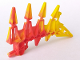 Part No: 61807pb02  Name: Bionicle Weapon Small Blade with 4 Spikes, Marbled Yellow Pattern (HF Xplode)