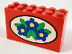 Part No: 6213px4  Name: Brick 2 x 6 x 3 with Blue Flowers Pattern